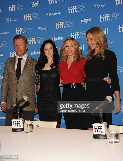 Composer Abel Korzeniowski actress Andrea Riseborough Writer/Director Madonna and actress Abbie Cornish pose onstage at 'WE' press conference during...