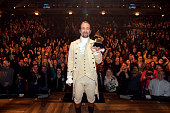 Composer actor LinManuel Miranda celebrates GRAMMY award on stage during 'Hamilton' GRAMMY performance for The 58th GRAMMY Awards at Richard Rodgers...