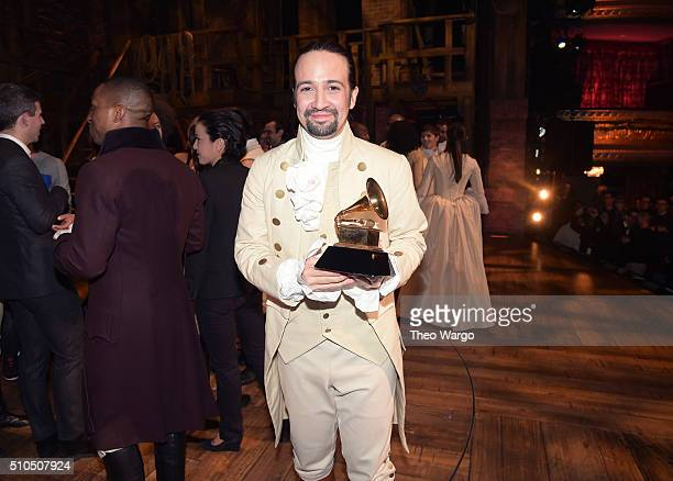 Composer actor LinManuel Miranda celebrates receiving GRAMMY award during 'Hamilton' GRAMMY performance for The 58th GRAMMY Awards at Richard Rodgers...
