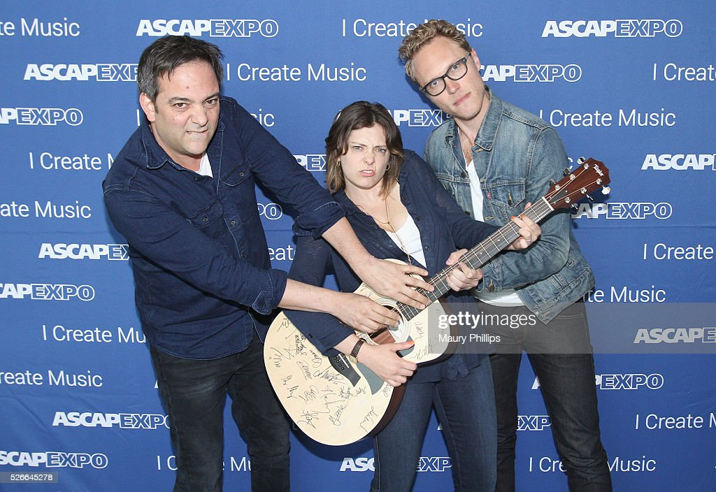 Composer Adam Schlesinger, actress/singer Rachel Bloom and Jack Dolgen pose with a #StandWithSongwriters guitar, which will be presented in May to members of Congress to urge them to support reform of outdated music licensing laws, during the 2016 ASCAP 'I Create Music' EXPO on April 30, 2016 in Los Angeles, California.