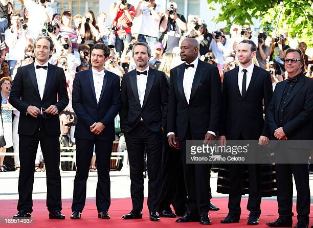 Composer Alexandre Desplat actor Orlando Bloom director Jerome Salle actors Forest Whitaker and Conrad Kemp and producer Richard Granpierre of 'Zulu'...