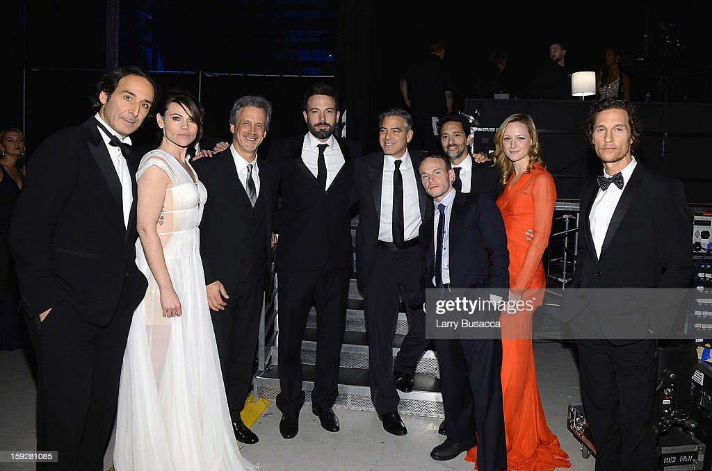 Composer <a gi-track='captionPersonalityLinkClicked' href=/galleries/search?phrase=Alexandre+Desplat&family=editorial&specificpeople=4162223 ng-click='$event.stopPropagation()'>Alexandre Desplat</a>, actress Clea DuVall, editor William Goldenberg, director <a gi-track='captionPersonalityLinkClicked' href=/galleries/search?phrase=Ben+Affleck&family=editorial&specificpeople=201856 ng-click='$event.stopPropagation()'>Ben Affleck</a>, producer <a gi-track='captionPersonalityLinkClicked' href=/galleries/search?phrase=George+Clooney&family=editorial&specificpeople=202529 ng-click='$event.stopPropagation()'>George Clooney</a>, writer <a gi-track='captionPersonalityLinkClicked' href=/galleries/search?phrase=Chris+Terrio&family=editorial&specificpeople=208138 ng-click='$event.stopPropagation()'>Chris Terrio</a>, producer <a gi-track='captionPersonalityLinkClicked' href=/galleries/search?phrase=Grant+Heslov&family=editorial&specificpeople=607201 ng-click='$event.stopPropagation()'>Grant Heslov</a>, actress <a gi-track='captionPersonalityLinkClicked' href=/galleries/search?phrase=Kerry+Bishe&family=editorial&specificpeople=4584762 ng-click='$event.stopPropagation()'>Kerry Bishe</a> and actor <a gi-track='captionPersonalityLinkClicked' href=/galleries/search?phrase=Matthew+McConaughey&family=editorial&specificpeople=201663 ng-click='$event.stopPropagation()'>Matthew McConaughey</a> attend the 18th Annual Critics' Choice Movie Awards held at Barker Hangar on January 10, 2013 in Santa Monica, California.