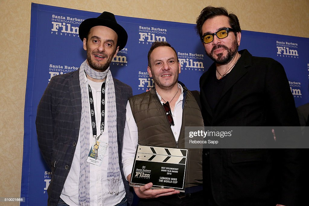Composer Allen Seif and Director Tony Khoury of 'Lebanon Wins the World Cup' receive the Best Documentary Short Film Award from SBIFF Director <a gi-track='captionPersonalityLinkClicked' href=/galleries/search?phrase=Roger+Durling&family=editorial&specificpeople=217770 ng-click='$event.stopPropagation()'>Roger Durling</a> at the Awards Breakfast at the Fess Parker during the 31st Santa Barbara International Film Festival on February 13, 2016 in Santa Barbara, California.