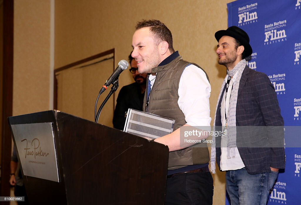 Composer Allen Seif and Director Tony Khoury of 'Lebanon Wins the World Cup' receive the Best Documentary Short Film Award at the Awards Breakfast at the Fess Parker during the 31st Santa Barbara International Film Festival on February 13, 2016 in Santa Barbara, California.
