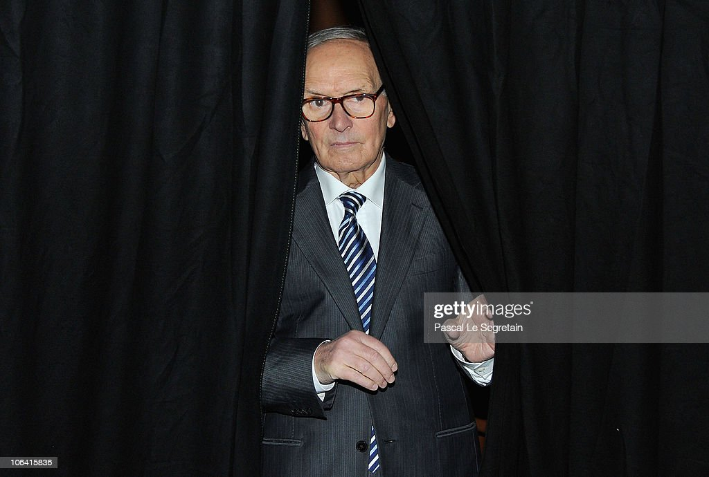 Composer and conductor <a gi-track='captionPersonalityLinkClicked' href=/galleries/search?phrase=Ennio+Morricone&family=editorial&specificpeople=677347 ng-click='$event.stopPropagation()'>Ennio Morricone</a> attends an Q & A session at the 5th International Rome Film Festival at Auditorium Parco Della Musica on November 1, 2010 in Rome, Italy.