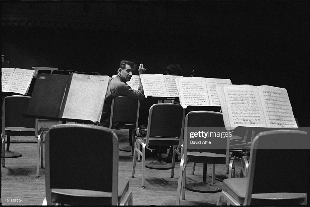 Composer and conductor rehearses at Carnegie Hall in 1959 in New York City New York