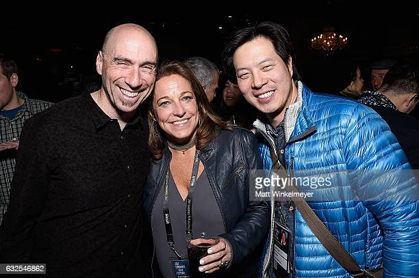 Composer and founder of Oovra Music Joel Goodman Susan Turley and Allen Chou attend the Film Independent International Documentary Association Oovra...