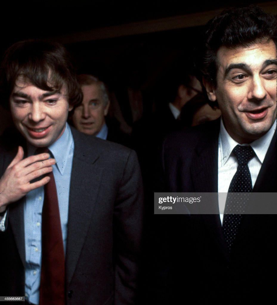 Composer <a gi-track='captionPersonalityLinkClicked' href=/galleries/search?phrase=Andrew+Lloyd+Webber&family=editorial&specificpeople=157705 ng-click='$event.stopPropagation()'>Andrew Lloyd Webber</a> with Spanish operatic tenor <a gi-track='captionPersonalityLinkClicked' href=/galleries/search?phrase=Placido+Domingo&family=editorial&specificpeople=204571 ng-click='$event.stopPropagation()'>Placido Domingo</a>, Hollywood, California, circa 1985.