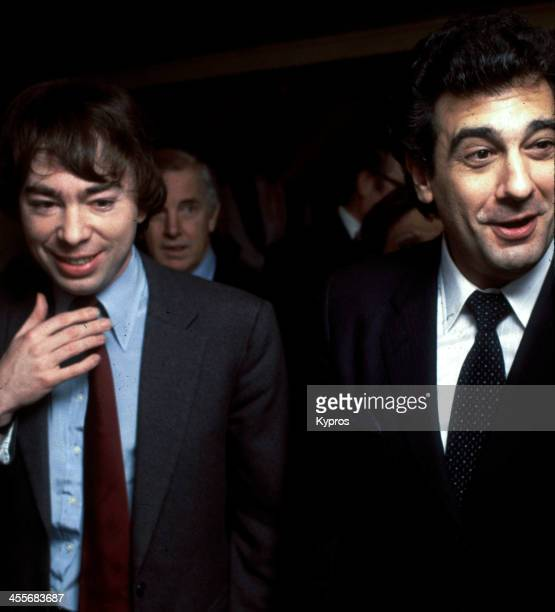 Composer Andrew Lloyd Webber with Spanish operatic tenor Placido Domingo Hollywood California circa 1985