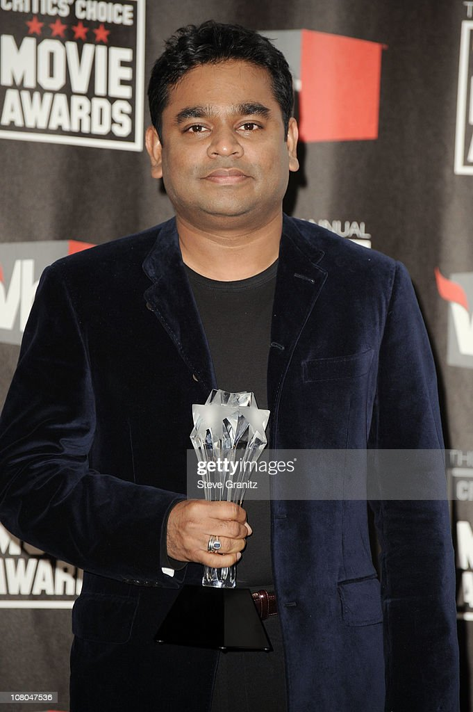 Composer <a gi-track='captionPersonalityLinkClicked' href=/galleries/search?phrase=A.R.+Rahman&family=editorial&specificpeople=1269970 ng-click='$event.stopPropagation()'>A.R. Rahman</a> poses in the press room at the 16th Annual Critics' Choice Movie Awards at the Hollywood Palladium on January 14, 2011 in Los Angeles, California.