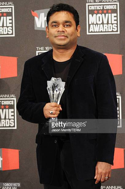 Composer AR Rahman poses in the press room during the 16th annual Critics' Choice Movie Awards at the Hollywood Palladium on January 14 2011 in Los...