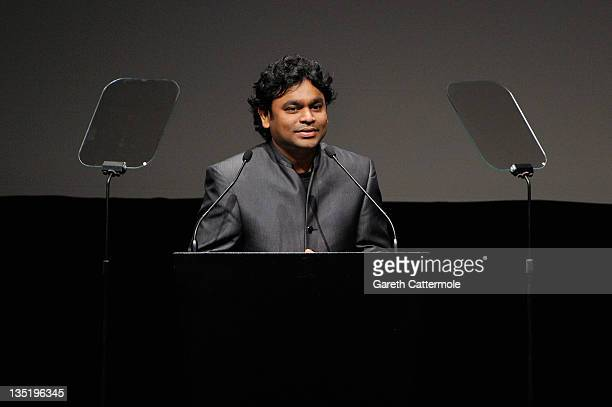 Composer AR Rahman speaks on stage as he receives the Lifetime Achievement Award at the opening ceremony during day one of the 8th Annual Dubai...