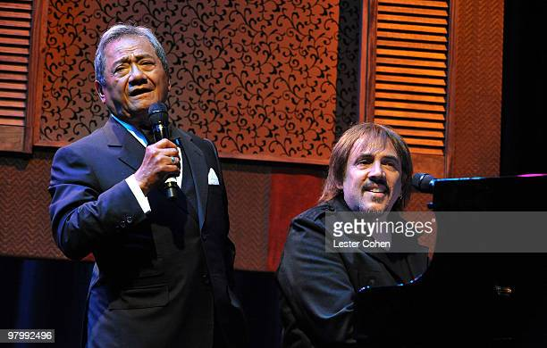 Composer Armando Manzanero and musician Alejandro Lerner speak onstage at 18th Annual ASCAP Latin Music Awards at The Beverly Hilton hotel on March...