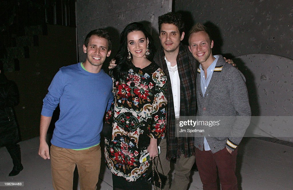 Composer Benj Pasek, <a gi-track='captionPersonalityLinkClicked' href=/galleries/search?phrase=Katy+Perry&family=editorial&specificpeople=599558 ng-click='$event.stopPropagation()'>Katy Perry</a>, <a gi-track='captionPersonalityLinkClicked' href=/galleries/search?phrase=John+Mayer&family=editorial&specificpeople=201930 ng-click='$event.stopPropagation()'>John Mayer</a> and Lyricist Justin Paul attend 'A Christmas Story, The Musical' Broadway Performance at Lunt-Fontanne Theatre on December 12, 2012 in New York City.