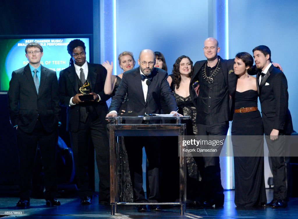 Composer Brad Wells (C) and Roomful of Teeth accept the Best Chamber Music/Small Ensemble Performance award for 'Roomful of Teeth' onstage during the 56th GRAMMY Awards Pre-Telecast Show at Nokia Theatre L.A. Live on January 26, 2014 in Los Angeles, California.