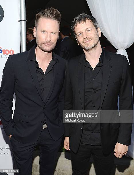Composer Brian Tyler and songwriter Dr Luke arrive at City of Hope's 10th Anniversary 'Songs Of Hope' on June 4 2014 in Brentwood California