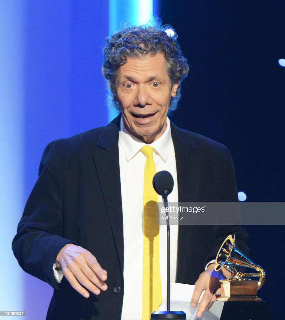 Composer <a gi-track='captionPersonalityLinkClicked' href=/galleries/search?phrase=Chick+Corea&family=editorial&specificpeople=1657212 ng-click='$event.stopPropagation()'>Chick Corea</a> accepts an award onstage during the 55th Annual GRAMMY Awards at Nokia Theatre on February 10, 2013 in Los Angeles, California.