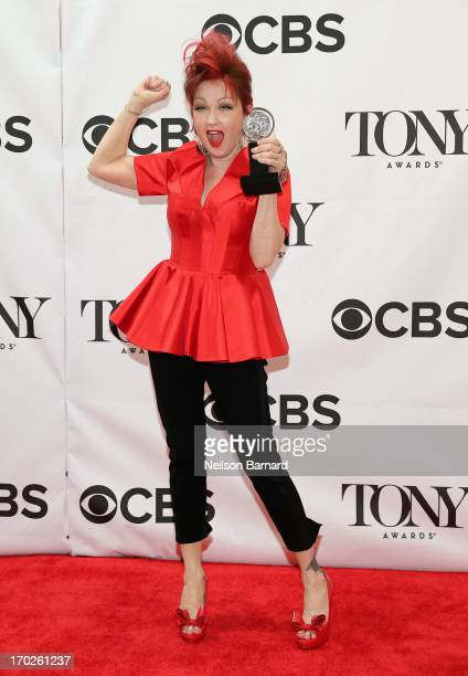 Composer Cyndi Lauper winner of the award for Best Original Score Written for the Theatre 'Kinky Boots' poses in The 67th Annual Tony Awards at Radio...