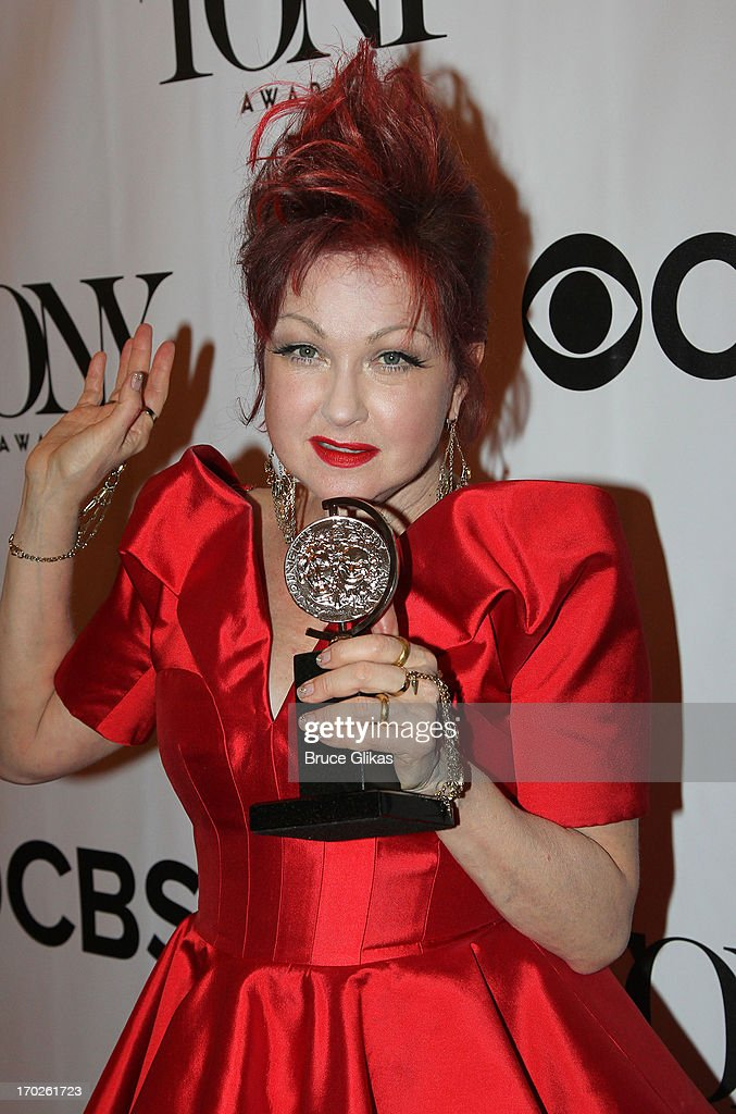 Composer Cyndi Lauper, winner of the award for Best Original Score (Music and/or Lyrics) Written for the Theatre 'Kinky Boots' poses in the press room during the 67th Annual Tony Awards at the on June 9, 2013 in New York City.