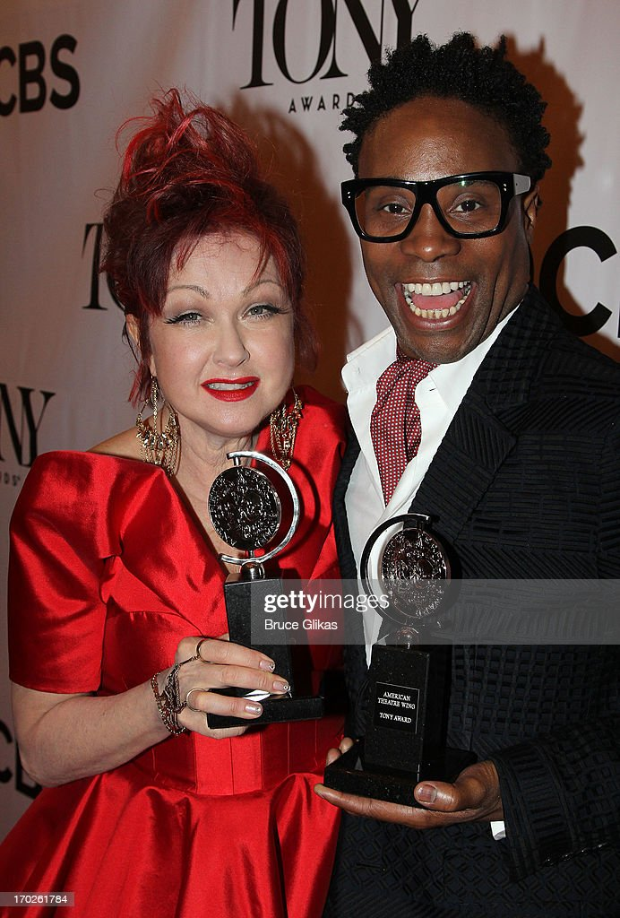 Composer <a gi-track='captionPersonalityLinkClicked' href=/galleries/search?phrase=Cyndi+Lauper&family=editorial&specificpeople=171290 ng-click='$event.stopPropagation()'>Cyndi Lauper</a>, winner of the award for Best Original Score (Music and/or Lyrics) Written for the Theatre 'Kinky Boots' and actor <a gi-track='captionPersonalityLinkClicked' href=/galleries/search?phrase=Billy+Porter&family=editorial&specificpeople=787592 ng-click='$event.stopPropagation()'>Billy Porter</a>, winner of the award for Best Performance by a Leading Actor in a Musical for 'Kinky Boots' pose and pose in the press room during the 67th Annual Tony Awards at the on June 9, 2013 in New York City.