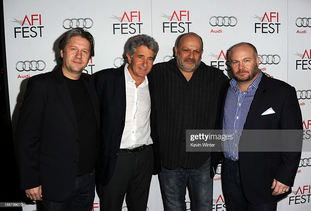 Composer Cyril Morin, producer Frederick A. Ritzenberg, director <a gi-track='captionPersonalityLinkClicked' href=/galleries/search?phrase=Eran+Riklis&family=editorial&specificpeople=4872843 ng-click='$event.stopPropagation()'>Eran Riklis</a>, and producer <a gi-track='captionPersonalityLinkClicked' href=/galleries/search?phrase=Gareth+Unwin&family=editorial&specificpeople=7182161 ng-click='$event.stopPropagation()'>Gareth Unwin</a> arrive at the 'Zaytoun' screening during AFI Fest 2012 presented by Audi at Grauman's Chinese Theatre on November 7, 2012 in Hollywood, California.
