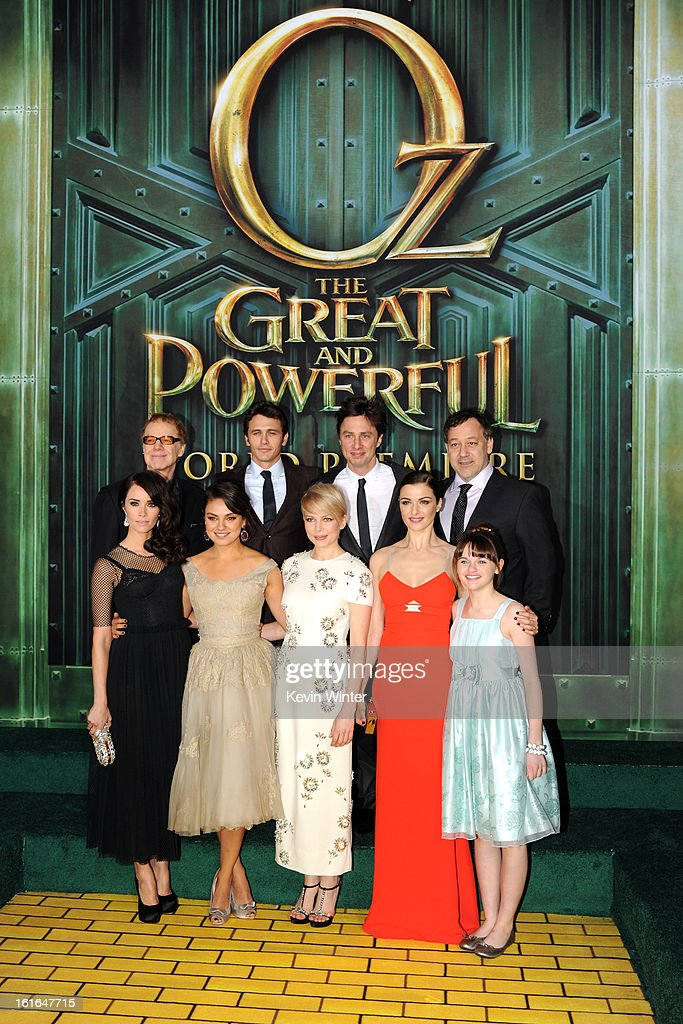 Composer Danny Elfman, actors James Franco and Zach Braff, Director Sam Raimi (L-R Front Row) Actresses Abigail Spencer, Mila Kunis, Michelle Williams, Rachel Weisz and Joey King attend the world premiere of Walt Disney Pictures' 'Oz The Great And Powerful' at the El Capitan Theatre on February 13, 2013 in Hollywood, California.