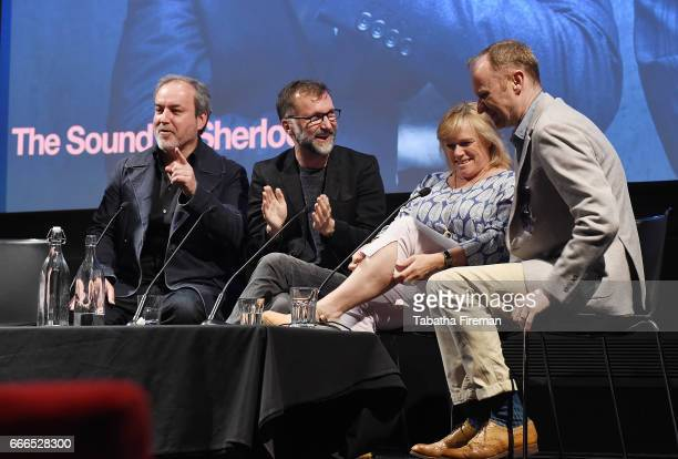 Composer David Arnold composer Michael Price producer Sue Vertue and actor Mark Gatiss attend a panel discussion about 'The Sound of Sherlock' at the...