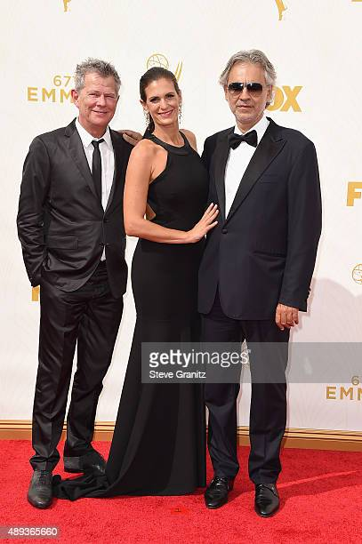Composer David Foster actress Veronica Berti and recording artist Andrea Bocelli attend the 67th Annual Primetime Emmy Awards at Microsoft Theater on...
