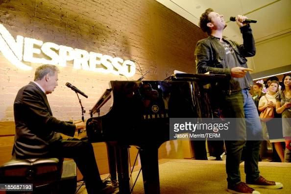 Composer David Foster and singer Michael Johns perform onstage to celebrate the opening of the new Nespresso Beverly Hills Flagship boutique on...