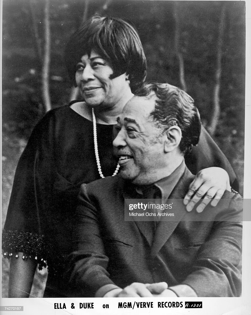 Composer Duke Ellington and singer <a gi-track='captionPersonalityLinkClicked' href=/galleries/search?phrase=Ella+Fitzgerald&family=editorial&specificpeople=90780 ng-click='$event.stopPropagation()'>Ella Fitzgerald</a> pose for a portrait to publicize the release of 'Ella Sings The Duke Ellington Songbook' which came out in 1957. Photo by Michael Ochs Archives/Getty Images