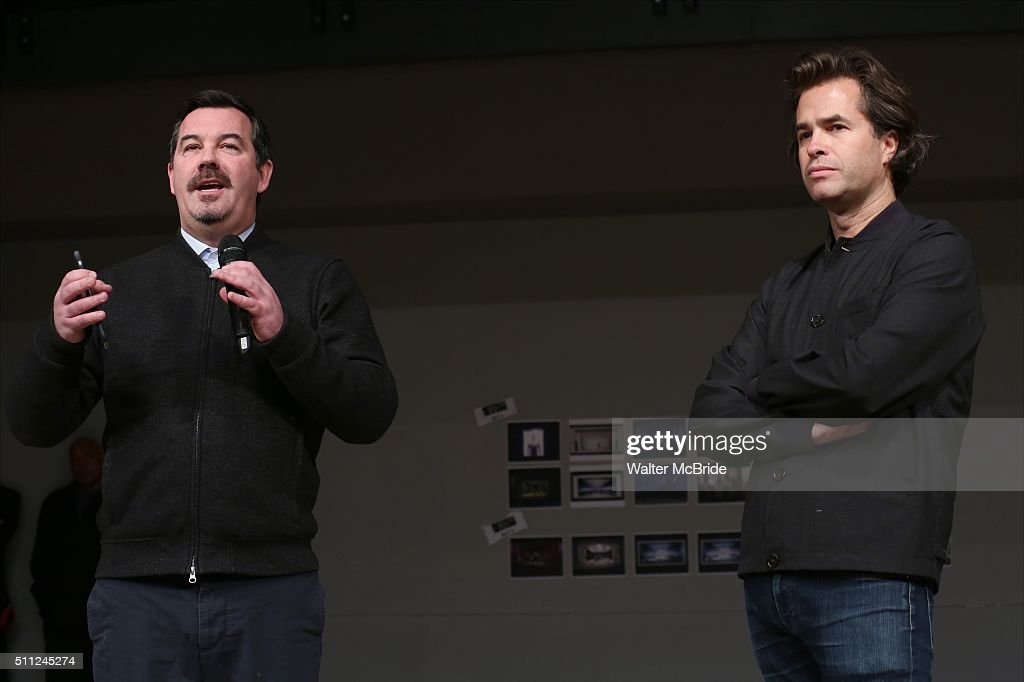 Composer Duncan Sheik and director Rupert Goold during the 'American Psycho' press preview at The New 42nd Street Studios on February 18 2016 in New...