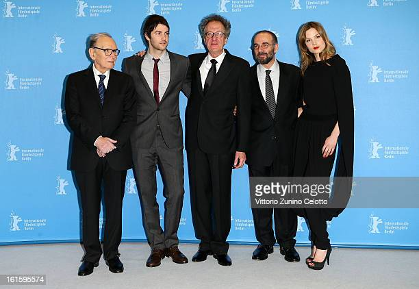 Composer Ennio Morricone actor Jim Sturgess actor Geoffrey Rush director Giuseppe Tornatore and actress Sylvia Hoeks attend the 'The Best Offer'...