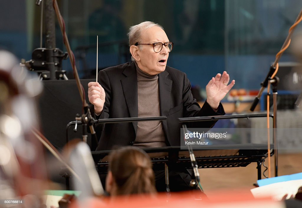 Composer <a gi-track='captionPersonalityLinkClicked' href=/galleries/search?phrase=Ennio+Morricone&family=editorial&specificpeople=677347 ng-click='$event.stopPropagation()'>Ennio Morricone</a> is seen during a Live Recording for the H8ful Eight Soundtrack at Abbey Road Studios on December 8, 2015 in London, England.