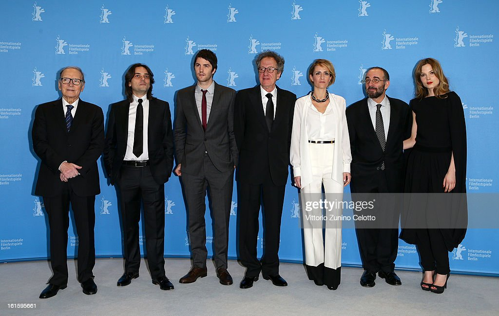 Composer Ennio Morricone, producer Arturo Paglia, actor Jim Sturgess, actor Geoffrey Rush, producer Isabella Cocuzza, director Giuseppe Tornatore and actress Sylvia Hoeks attend the 'The Best Offer' Photocall during the 63rd Berlinale International Film Festival at the Grand Hyatt Hotel on February 12, 2013 in Berlin, Germany.