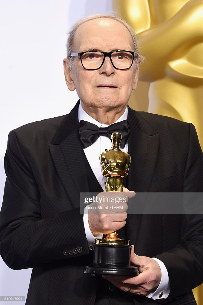 Composer <a gi-track='captionPersonalityLinkClicked' href=/galleries/search?phrase=Ennio+Morricone&family=editorial&specificpeople=677347 ng-click='$event.stopPropagation()'>Ennio Morricone</a> winner of the Best Original Score award for ''The Hateful Eight' poses in the press room during the 88th Annual Academy Awards at Loews Hollywood Hotel on February 28, 2016 in Hollywood, California.
