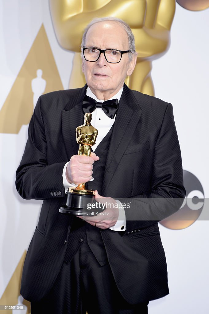 Composer <a gi-track='captionPersonalityLinkClicked' href=/galleries/search?phrase=Ennio+Morricone&family=editorial&specificpeople=677347 ng-click='$event.stopPropagation()'>Ennio Morricone</a>, winner of the Best Original Score award for ''The Hateful Eight,' poses in the press room during the 88th Annual Academy Awards at Loews Hollywood Hotel on February 28, 2016 in Hollywood, California.