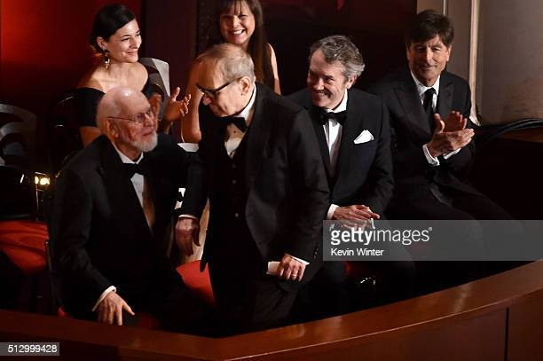 Composer Ennio Morricone wins the Best Original Score award for 'The Hateful Eight' with fellow nominated composers John Williams Carter Burwell and...