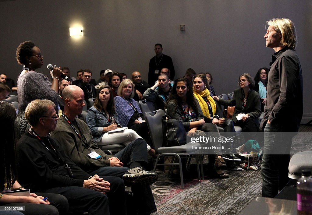 Composer Eric Whitacre (R) participates in a master session during the 2016 ASCAP 'I Create Music' EXPO on April 29, 2016 in Los Angeles, California.