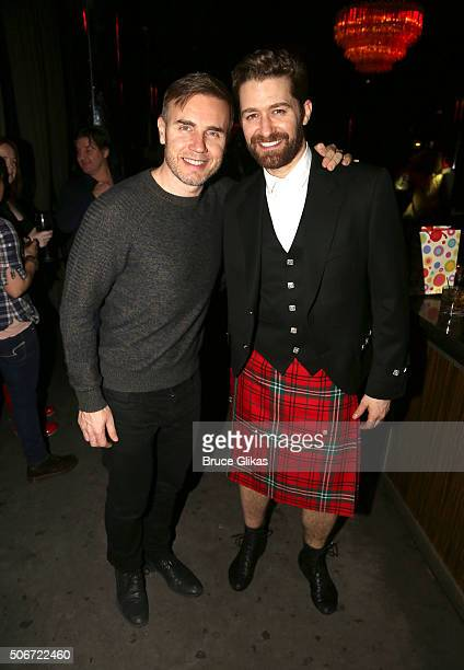 Composer Gary Barlow and Matthew Morrison pose at Matthew Morrison's final performance in 'Finding Neverland' on Broadway at The PHD Rooftop Lounge...