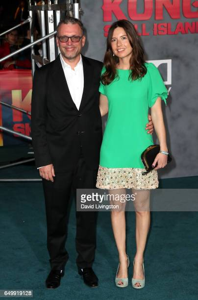 Composer Henry Jackman and Victoria De La Vega attend the premiere of Warner Bros Pictures' 'Kong Skull Island' at Dolby Theatre on March 8 2017 in...