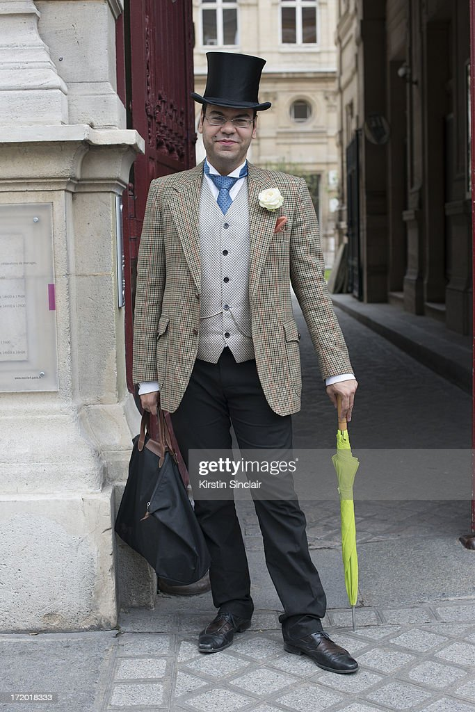 Composer Igor Micelli wears an hermes cravet and everything else vintage on day 3 of Paris Collections: Men on June 28, 2013 in Paris, France.