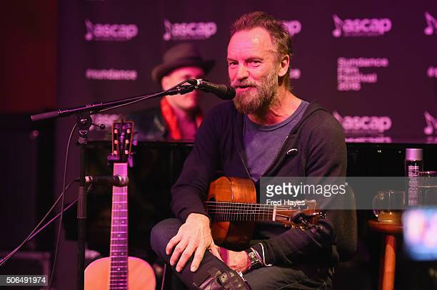 Composer J Ralph and Sting perform at the ASCAP Music Cafe during the 2016 Sundance Film Festival at Sundance ASCAP Music Cafe on January 23 2016 in...