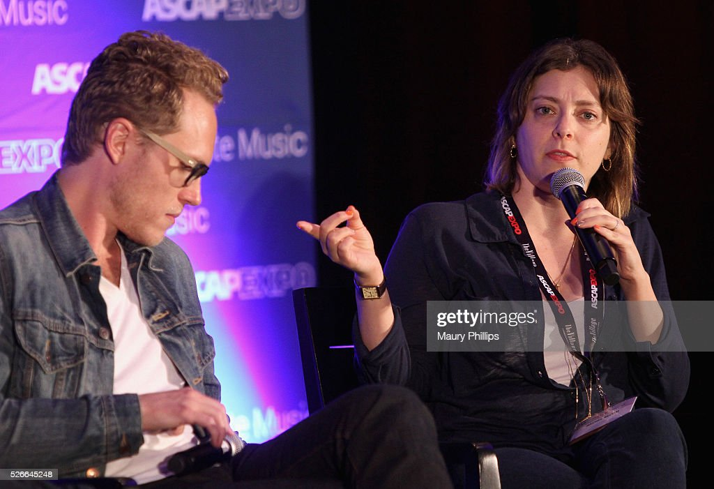 Composer Jack Dolgen (L) and actress/singer Rachel Bloom speak onstage during the 'Feeling Kinda Naughty' panel, part of the 2016 ASCAP 'I Create Music' EXPO on April 30, 2016 in Los Angeles, California.
