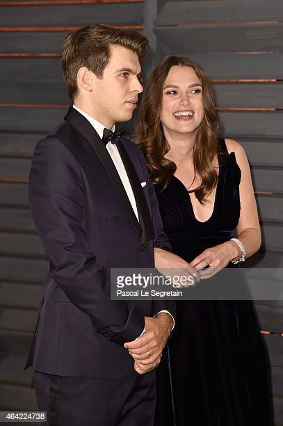 Composer James Righton and actress Keira Knightley attend the 2015 Vanity Fair Oscar Party hosted by Graydon Carter at Wallis Annenberg Center for...
