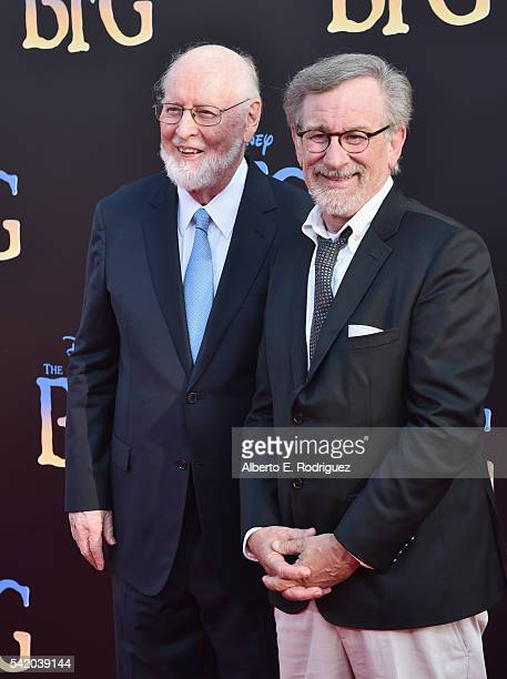 Composer John Williams and director Steven Spielberg arrive on the red carpet for the US premiere of Disney's 'The BFG' directed and produced by...