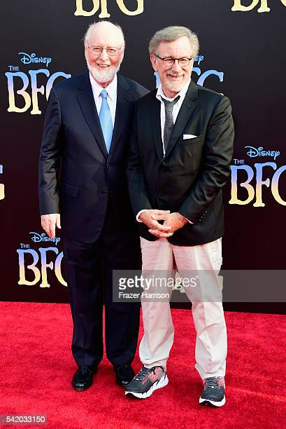 Composer John Williams and director/producer Steven Spielberg attend Disney's 'The BFG' premiere at the El Capitan Theatre on June 21 2016 in...