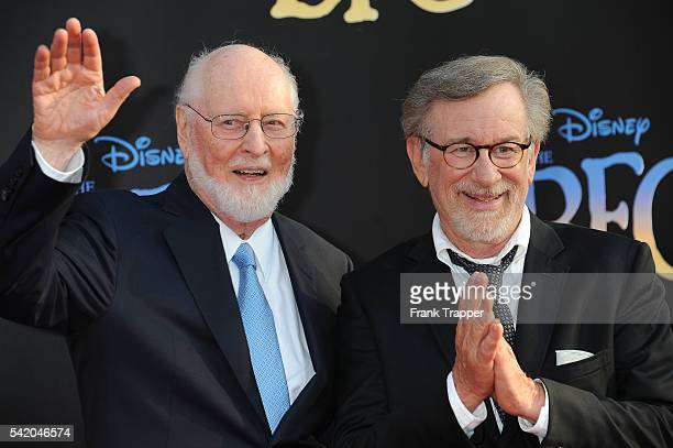 Composer John Williams and director/producer Steven Spielberg attend the premiere of Disney's 'The BFG' held at the El Capitan Theater on June 21...