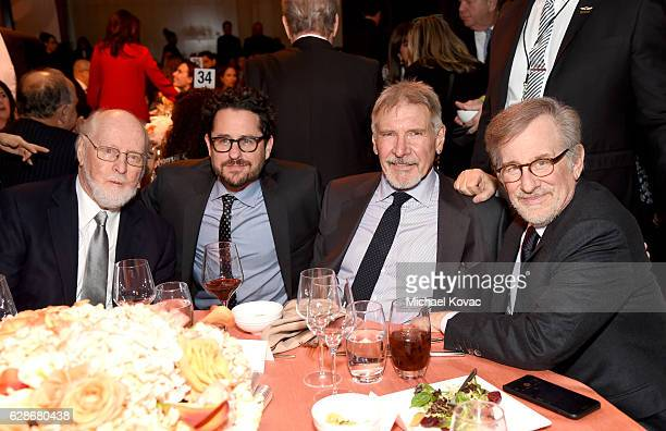 Composer John Williams director JJ Abrams actor Harrison Ford and founder USC Shoah Foundation Steven Spielberg attend Ambassadors for Humanity Gala...