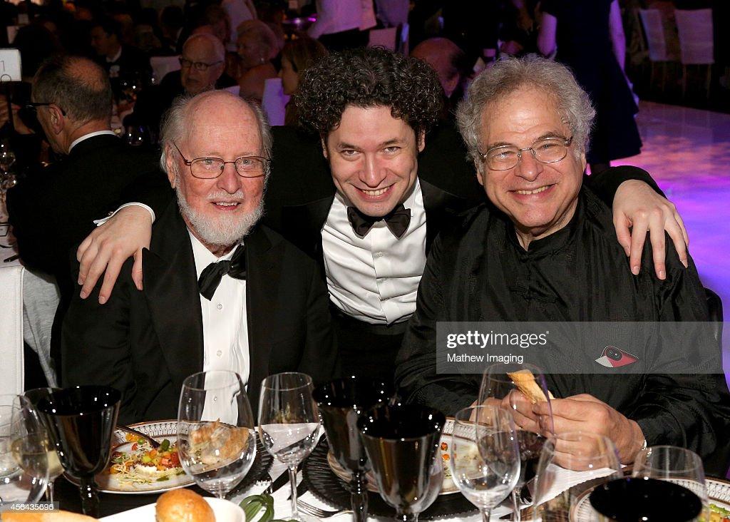 Composer John Williams music director Gustavo Dudamel and violinist Itzhak Perlman attend Los Angeles Philharmonic's Walt Disney Concert Hall Opening...