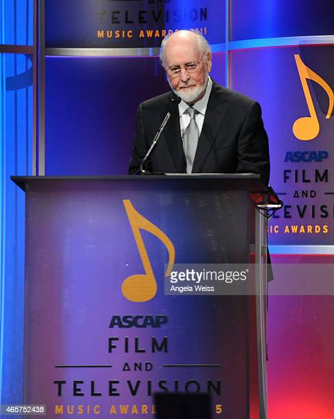 Composer John Williams speaks on stage at the 30th Annual ASCAP Film Television Music Awards at The Beverly Hilton Hotel on March 9 2015 in Beverly...